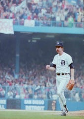 Detroit Tigers Jack Morris at Tiger Stadium during a World Series  game against San Diego in 1984.