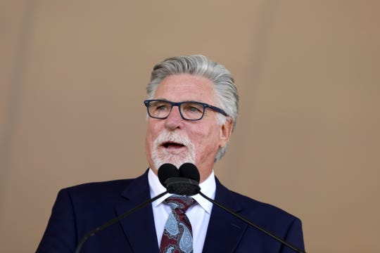 Tigers great Jack Morris delivers his speech to a crowd of thousands at the Clark Sports Center during the National Baseball Hall of Fame induction ceremony in Cooperstown, N.Y. ,on Sunday, July 29, 2018.
