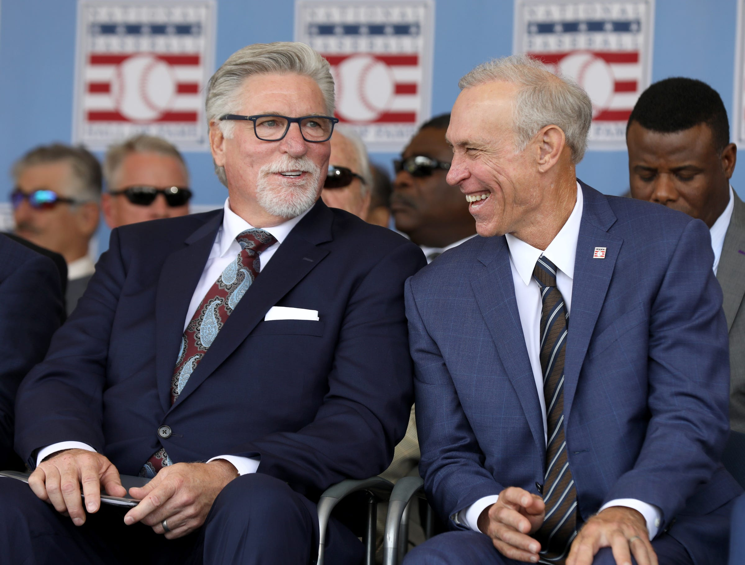 Tigers greats Jack Morris and Alan Trammell share a laugh on stage at the Clark Sports Center during the National Baseball Hall of Fame induction ceremony in Cooperstown, N.Y., on Sunday, July 29, 2018.