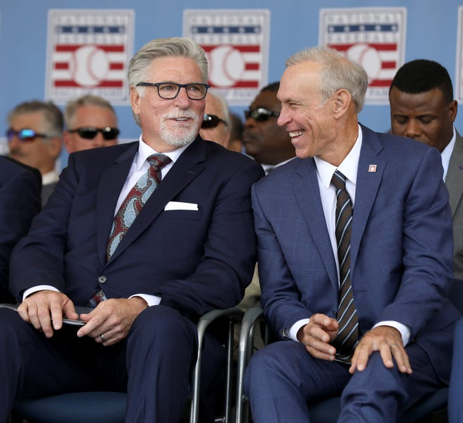 Jack Morris, left, and Alan Trammell share a laugh on stage at the Clark Sports Center during the National Baseball Hall of Fame induction ceremony in Cooperstown, N.Y., on Sunday.