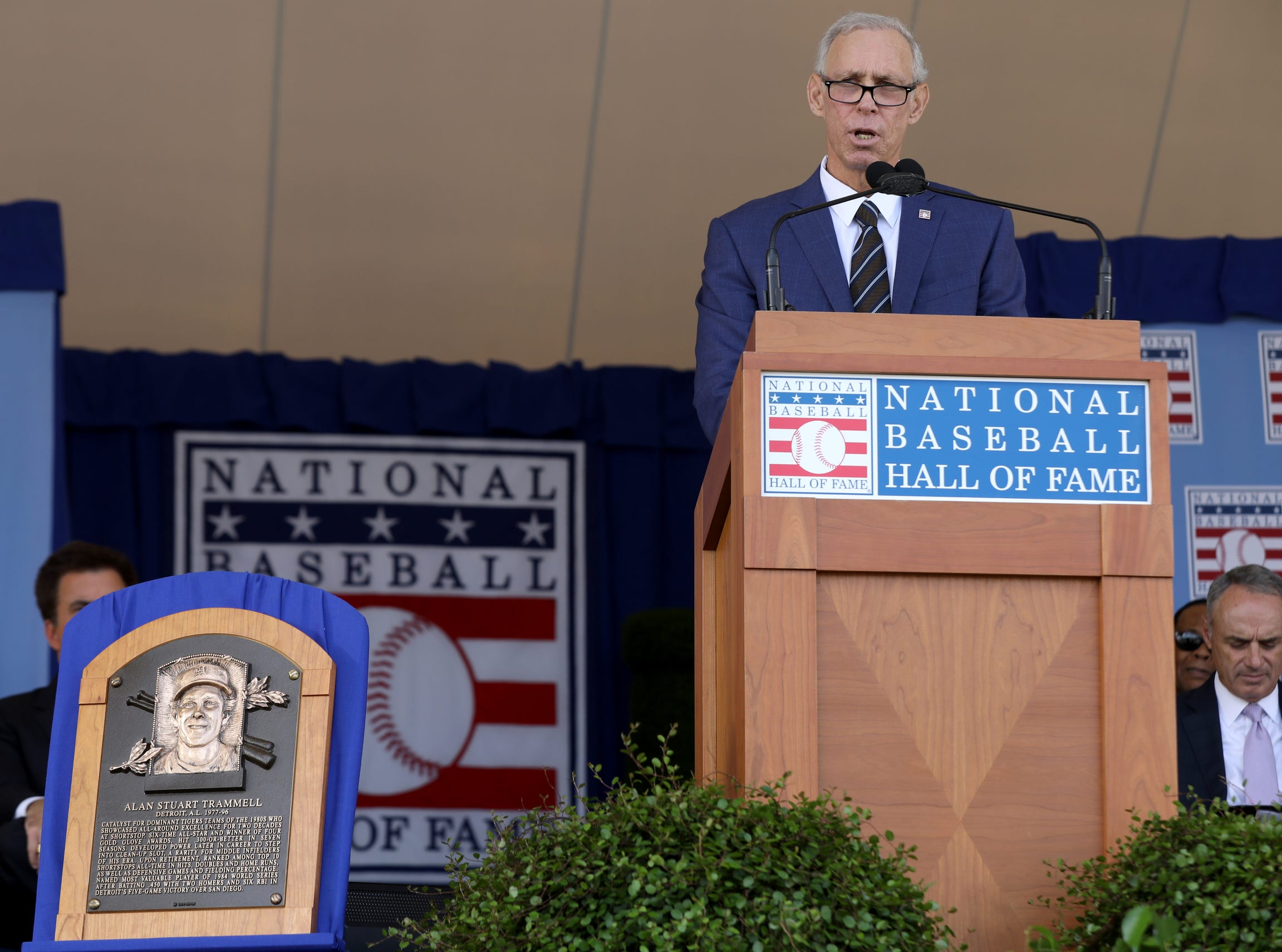 Tigers great Alan Trammell delivers his speech to a crowd of thousands at the Clark Sports Center during the National Baseball Hall of Fame induction ceremony in Cooperstown, N.Y. ,on Sunday, July 29, 2018.