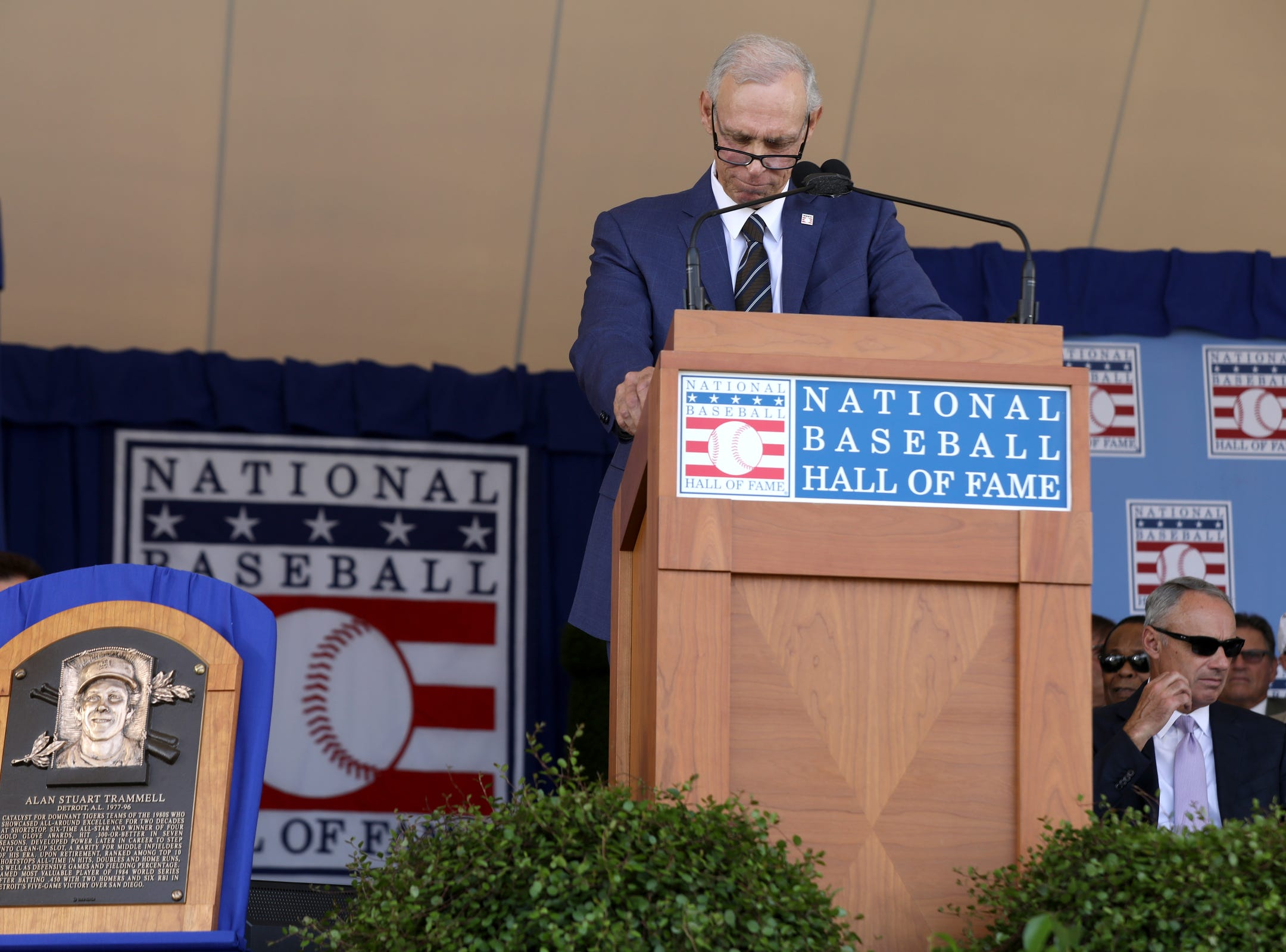 Tigers great Alan Trammell pauses when talking about his teammate Lou Whitaker and how he hopes he'll get in the Hall of Fame one day during his speech to a crowd of thousands at the Clark Sports Center during the National Baseball Hall of Fame induction ceremony in Cooperstown, NY on Sunday, July 29, 2018.