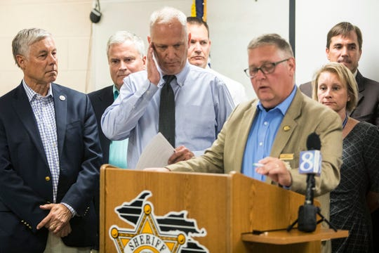 Kalamazoo County Sheriff Richard Fuller speaks during a press conference about the high levels of Perfluoroalkyl and polyfluoroalkyl substances, PFAS, found in the drinking water of Parchment and Cooper Township at the Kalamazoo County Sheriff Department in Kalamazoo on July 26, 2018.