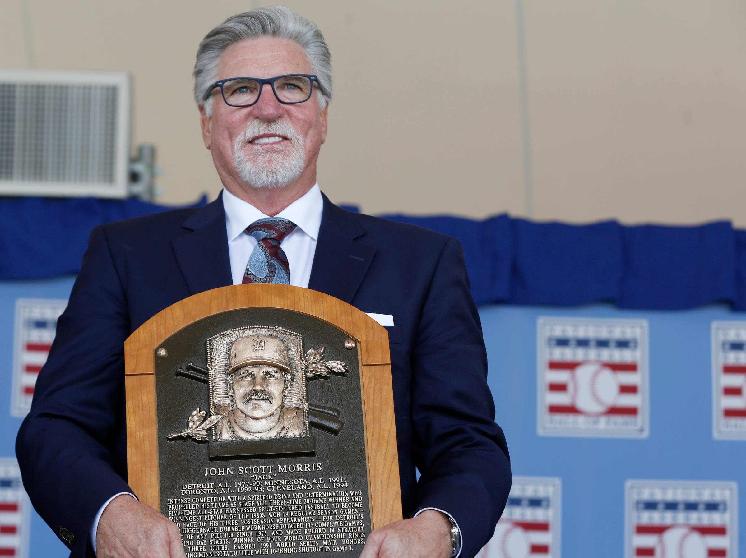 Tigers great Jack Morris is all smiles while holding his Baseball Hall of Fame plaque and looking out at the crowd at the Clark Sports Center after the National Baseball Hall of Fame induction ceremony in Cooperstown, N.Y. on Sunday, July 29, 2018.