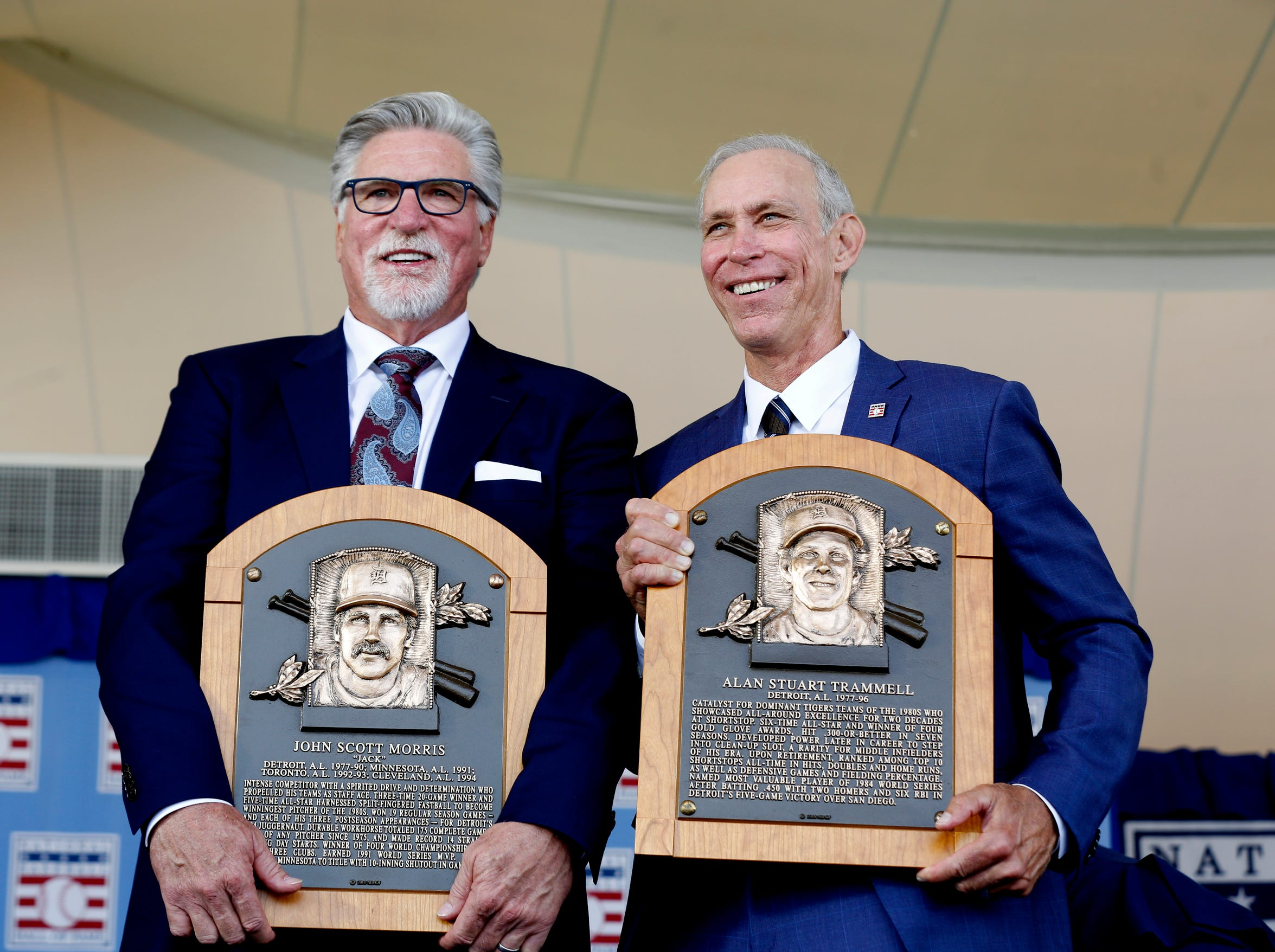 Tigers greats Jack Morris and Alan Trammell with their Baseball Hall of Fame plaques that they were presented with at the Clark Sports Center during the National Baseball Hall of Fame induction ceremony in Cooperstown, N.Y., on Sunday, July 29, 2018.