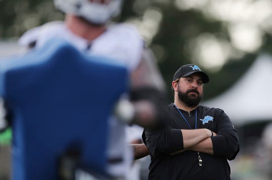 Detroit Lions head coach Matt Patricia observes a drill on the first day of training camp, Friday, July 27, 2018, in Allen Park.