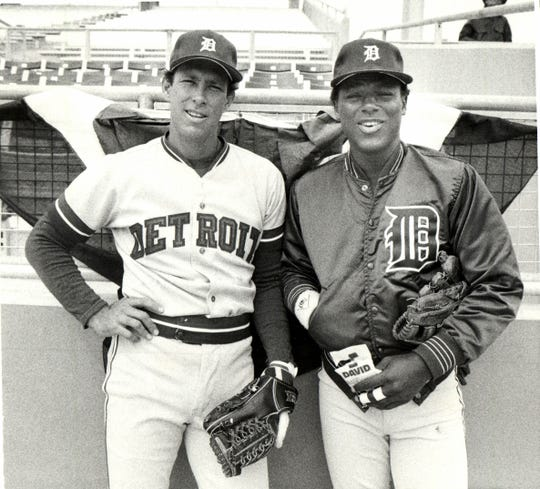 Detroit Tigers Alan Trammell and Lou Whitaker mug for the camera before their opener against the Texas Rangers on the road in spring training in 1988