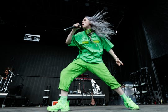 Billie Eilish performs during the Mo Pop Festival at West Riverfront Park in Detroit, Saturday, July 28, 2018.