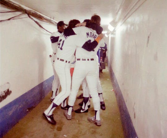 Detroit Tigers Darrell Evans and Jack Morris in the  tunnel from the field to the clubhouse in 1984 after winning the World Series.