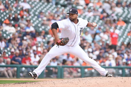 Tigers pitcher Francisco Liriano pitches during the fourth inning on Sunday, July 29, 2018, at Comerica Park.