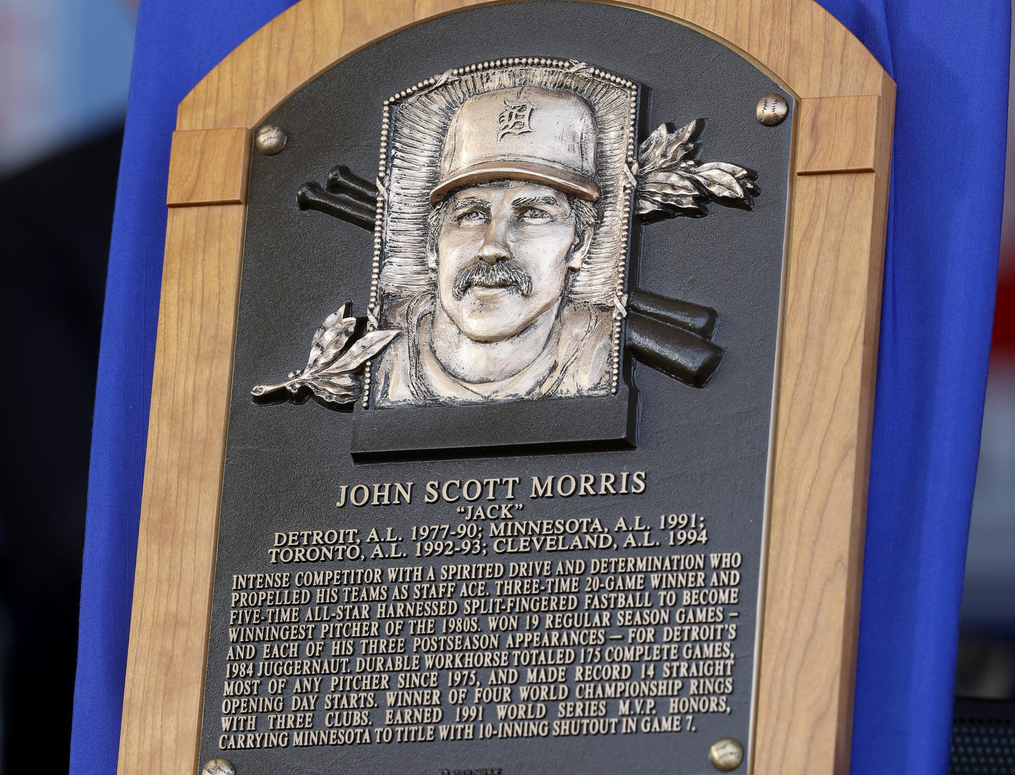 The Hall of Fame plaque of Tigers great Jack Morris at the Clark Sports Center during the National Baseball Hall of Fame induction ceremony in Cooperstown, N.Y., on Sunday, July 29, 2018.