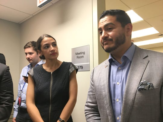 Alexandria Ocasio-Cortez, a Democratic congressional candidate from New York, with Michigan Democratic gubernatorial candidate Abdul El-Sayed during a campaign stop in Detroit, Saturday, July 28, 2018.