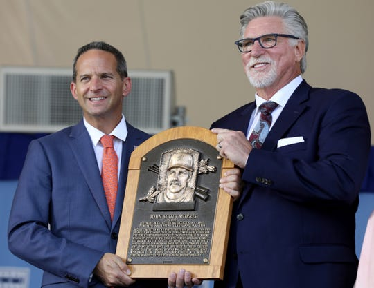 Jeff Idelson, President of the National Baseball Hall of Fame and Museum, presents to Tigers great Jack Morris his Hall of Fame plaque on stage at the Clark Sports Center during the National Baseball Hall of Fame induction ceremony in Cooperstown, N.Y., on Sunday, July 29, 2018.
