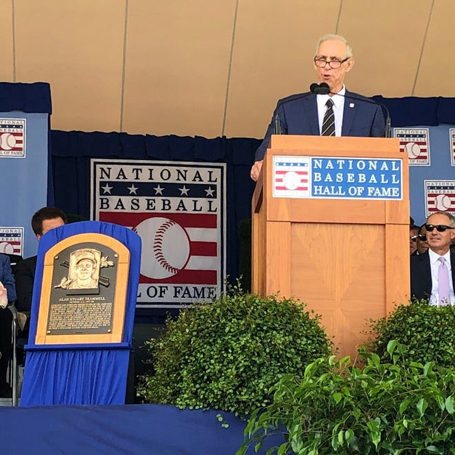 Detroit Tigers great Alan Trammell gives his speech during the Baseball Hall of Fame induction ceremony on Sunday, July 29, 2018, in Cooperstown, N.Y.