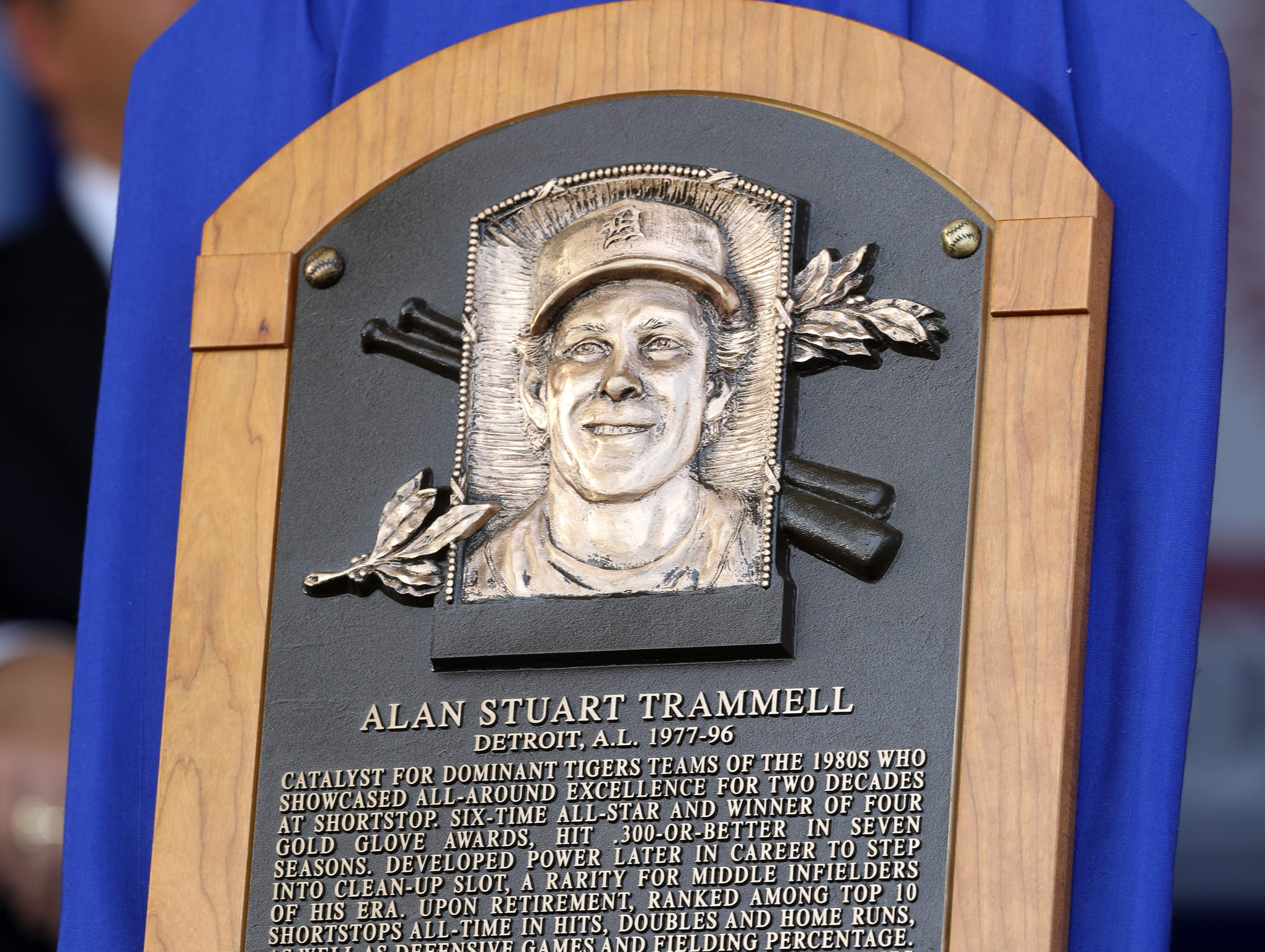 The Baseball Hall of Fame plaque of Tigers great Alan Trammell at the Clark Sports Center during the National Baseball Hall of Fame induction ceremony in Cooperstown, N.Y. on Sunday, July 29, 2018.