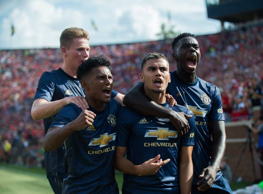Manchester United's Ander Herrera celebrates his goal vs. Liverpool at Michigan Stadium in Ann Arbor on July 28, 2018 in the International Champions Cup.