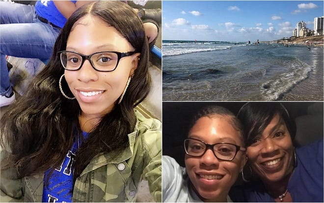 TeNiya Jones, 19, a 2017 Dunbar High School graduate and University of Kentucky sophomore, was in a seven-week exchange program in Jordan when friends decided to take a weekend trip to Israel before returning to the U.S. next Friday. A University of Kentucky liaison called her mother, Tosha Jones-Mora, bottom right, late Saturday night to say that Jones and two friends had gone swimming around midnight at Bat Yam beach, top right, and were caught in a strong current. All three tried to swim ashore but Jones didn't make it out of the water.