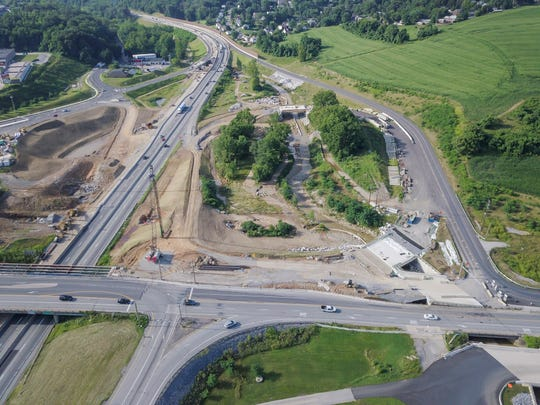 Construction continues at Mount Rose Avenue and Interstate 83, where the contractor says they need more time and money to complete the work. Sunday, July 29, 2018. John A. Pavoncello photo