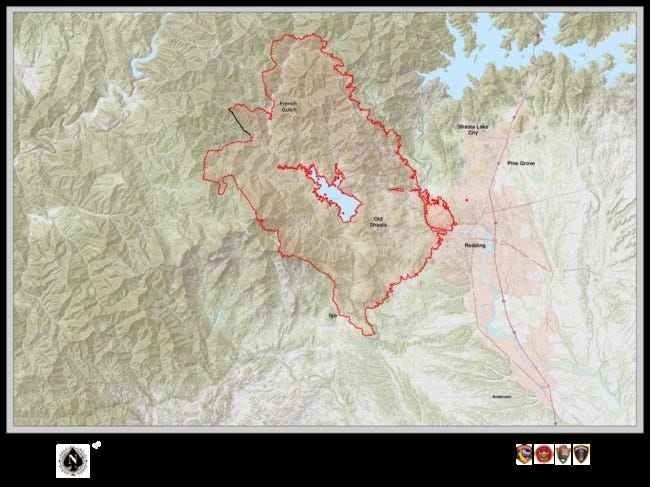 This map shows the area being burned by the Carr Fire on Sunday morning.