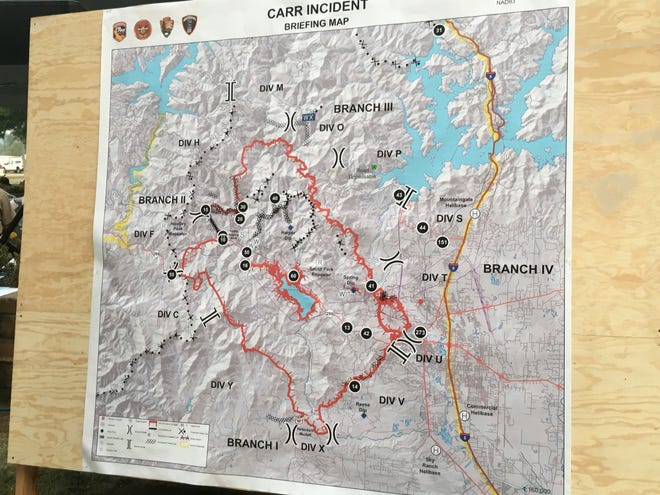 Latest official map of the Carr Fire, as posted in preparation for Sunday morning briefing.
