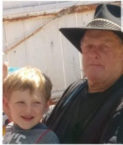 Eddy Bledsoe, 76, with his great-grandson, James Roberts, 5. James died in the Carr Fire along with his sister and great-grandmother.