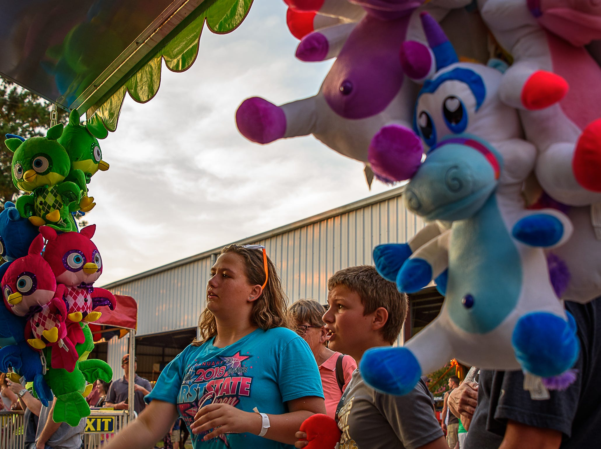 Attendees at the Carnival try their luck at one of the many game booths at the Chincoteague Fireman's Carnival.