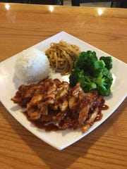 The chicken katsu with noodles and sweet chili broccoli at YoshiJen.