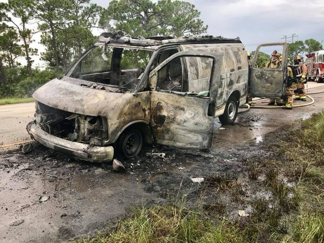 St. Lucie County firefighters quickly extinguished a van fire on the left shoulder of Interstate 95 South about 5:15 p.m. July 29, 2018. No injuries were reported.