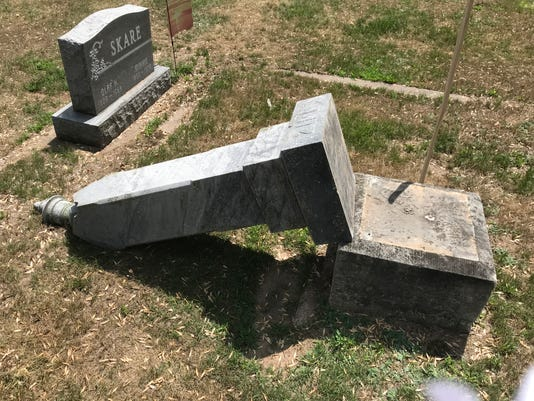 merrill cemetery toppled