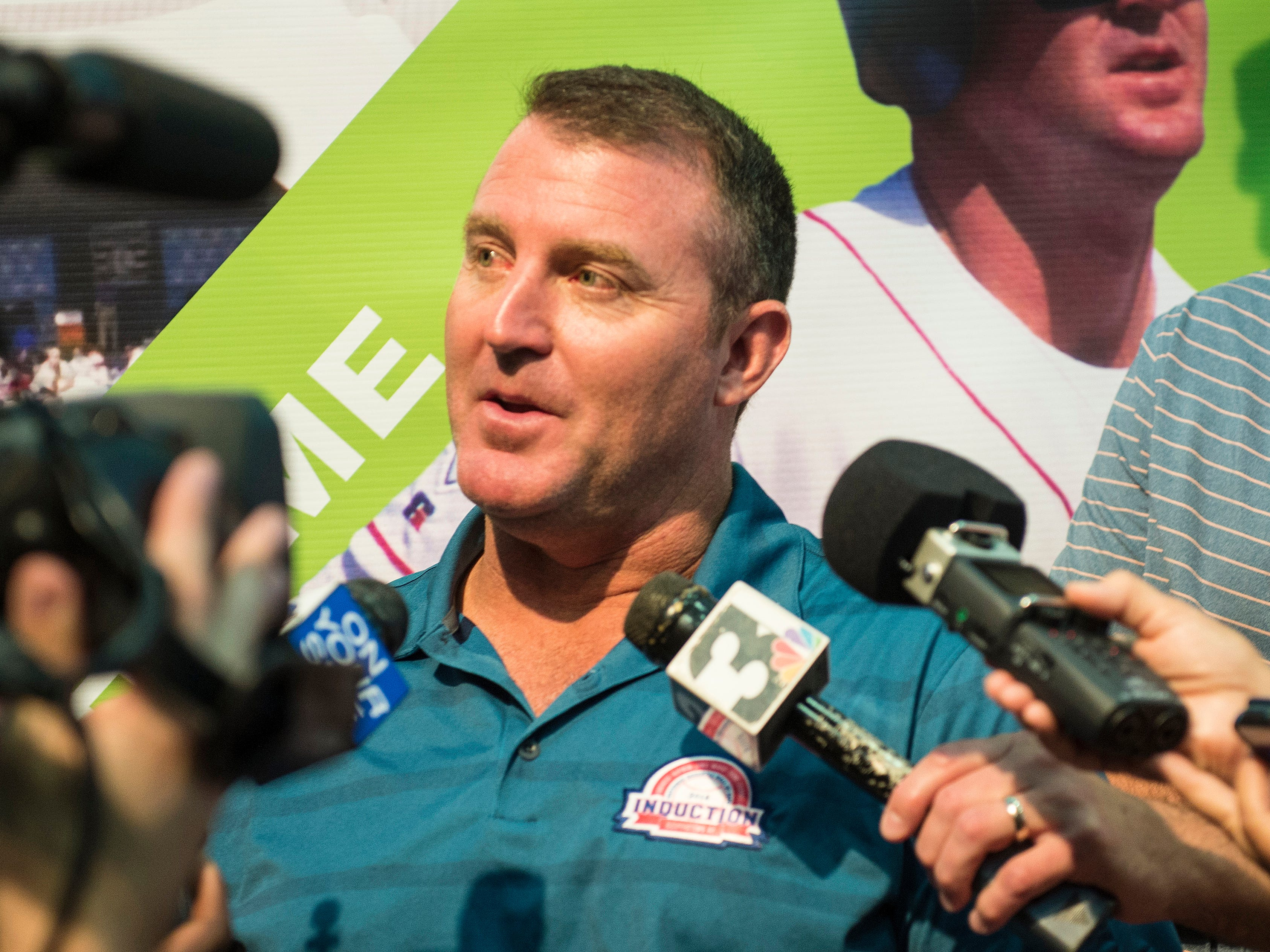 Jim Thome answers question during the press conference at the Clark Sports Center.