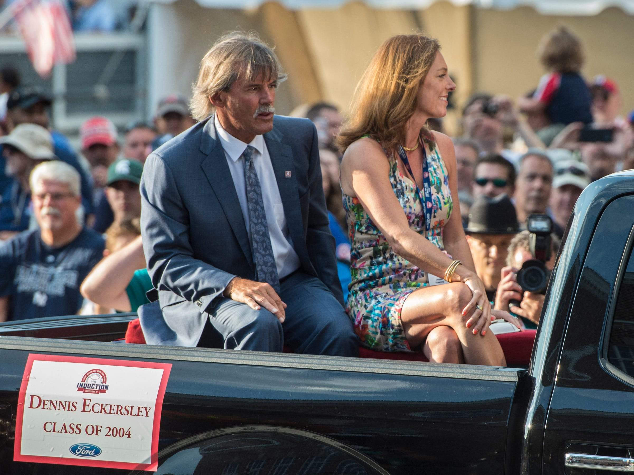 Hall of Fame member Dennis Eckersley (left) arrives at National Baseball Hall of Fame.