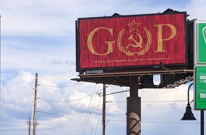 Colorado billboard replaces letter in 'GOP' with communist symbols