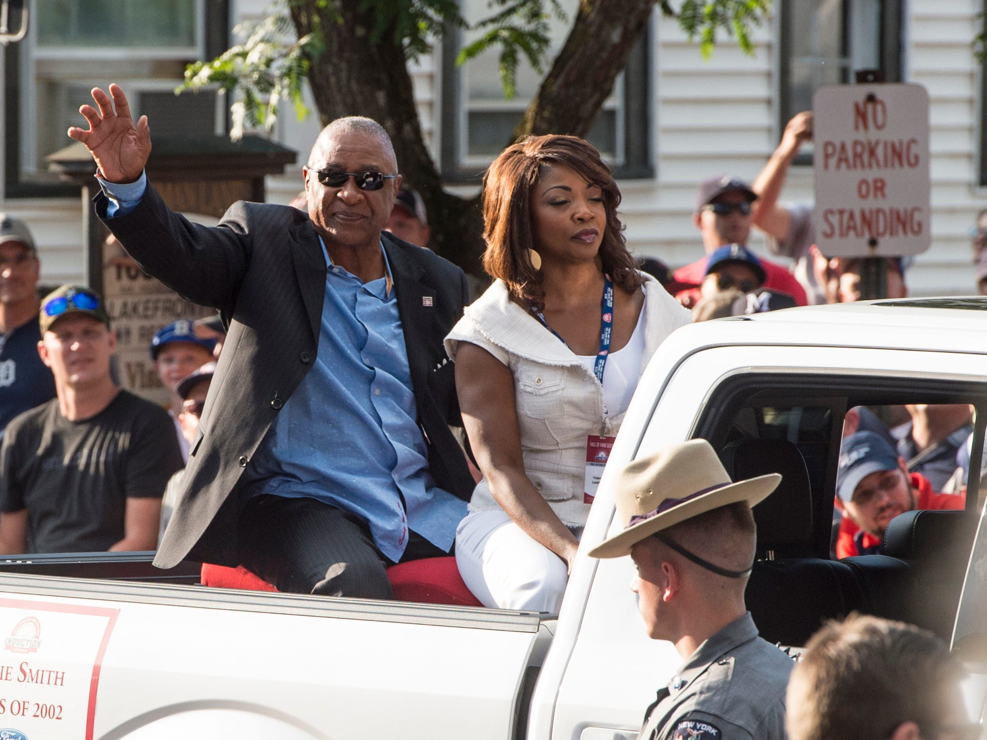 Hall of Fame member Ozzie Smith (left) arrives at National Baseball Hall of Fame.