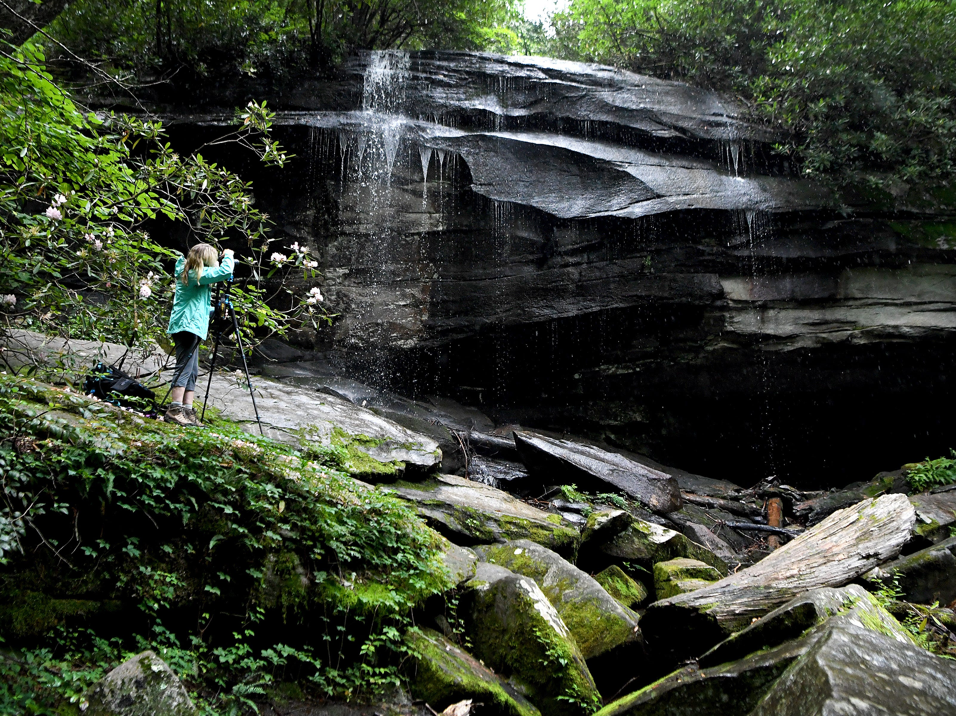 Landscape photographer Theresa Rasmussen, of Virginia, takes a photo of Slick Rock Falls in the Pisgah National Forest on Thursday, July 19, 2018.