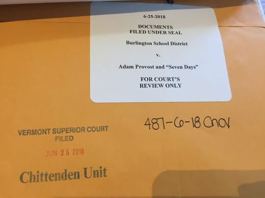 Court documents appear under seal at Vermont Superior Court in Burlington regarding the personnel records of former Burlington educator Adam Provost