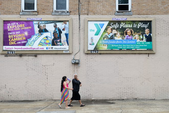 New billboards promoting family engagement are seen at N. 7th & Elm streets in Camden, N.J.