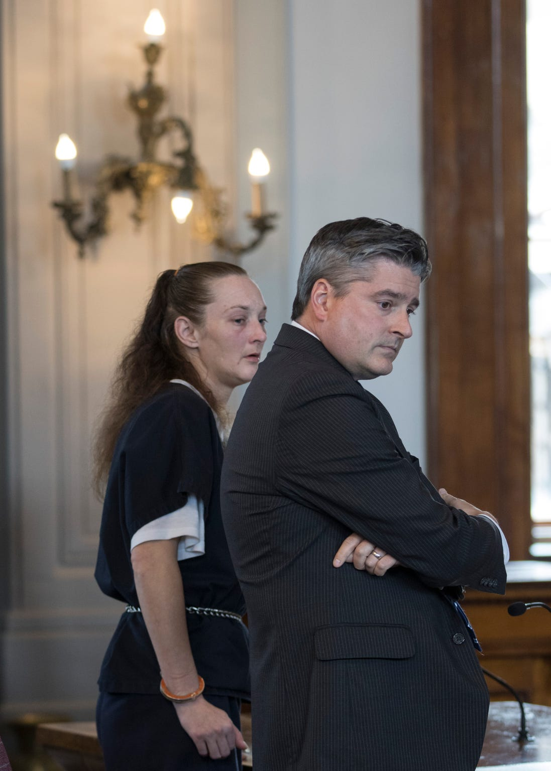 Sandy France and her public defender listen to the 24-month recommendation given by the Ross County Prosecutor's Office regarding her connection to the death of Jason Bartley Monday afternoon.