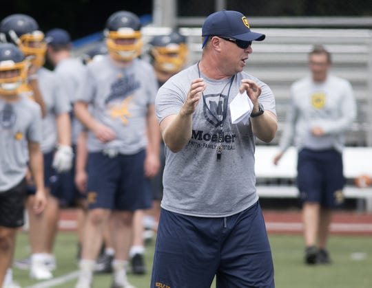 Moeller  head coach Doug Rosfeld during the first day of football practice in Ohio. Monday, July 30,2018.