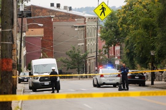 The scene of a Monday afternoon fatal shooting on Vine Street in Mount Auburn. The victim was shot in the upper torso and was declared dead at the scene.