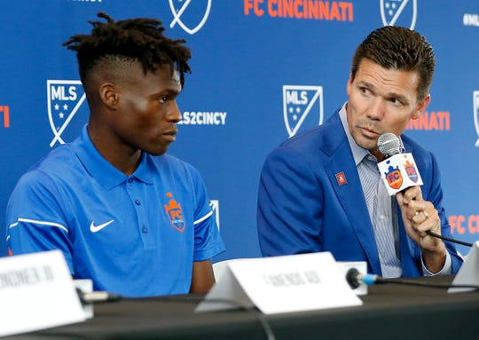 FC Cincinnati team manager Alan Koch gives a statement about new team signings Fanendo Adi and Fatai Alashe.