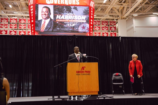 Gerald Harrison speaks during his introductory press conference as Austin Peay's athletic director.