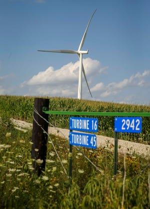 MidAmerican Energy wind turbine farm near Macksburg in Madison County on July 27, 2018.