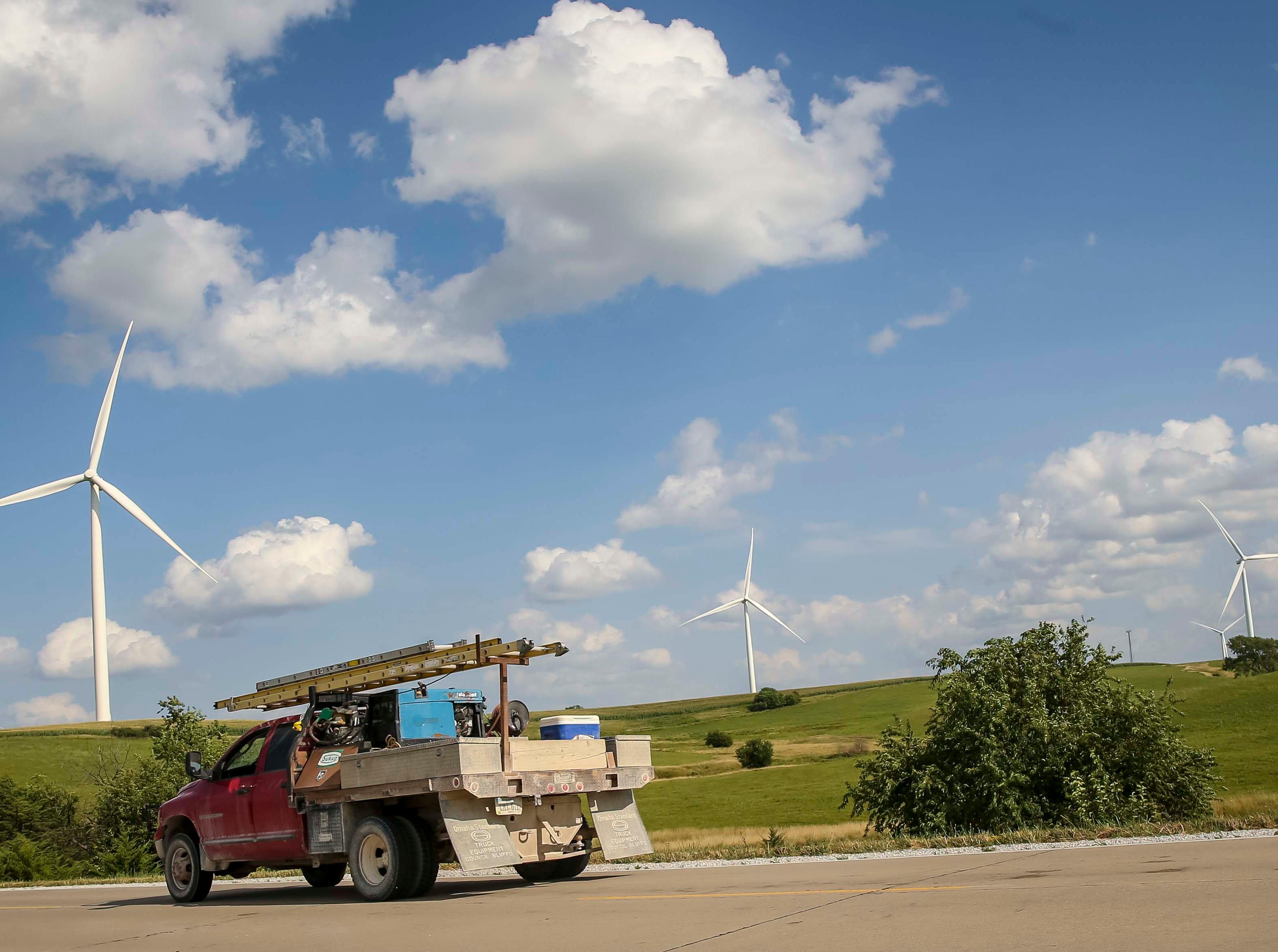 MidAmerican Energy wind turbine farm near Macksburg, Iowa, Friday, July 27, 2018.