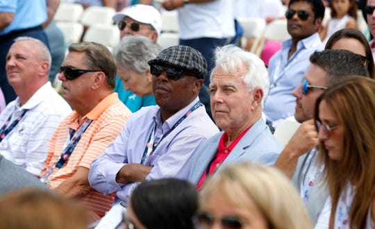 Former Detroit Tigers star Lou Whitaker, center, and Gary Spicer, a friend of the Tigers for decades, watch the video monitor that was playing an interview with Jack Morris at the Clark Sports Center after the National Baseball Hall of Fame induction ceremony in Cooperstown, N.Y. on Sunday, July 29, 2018.