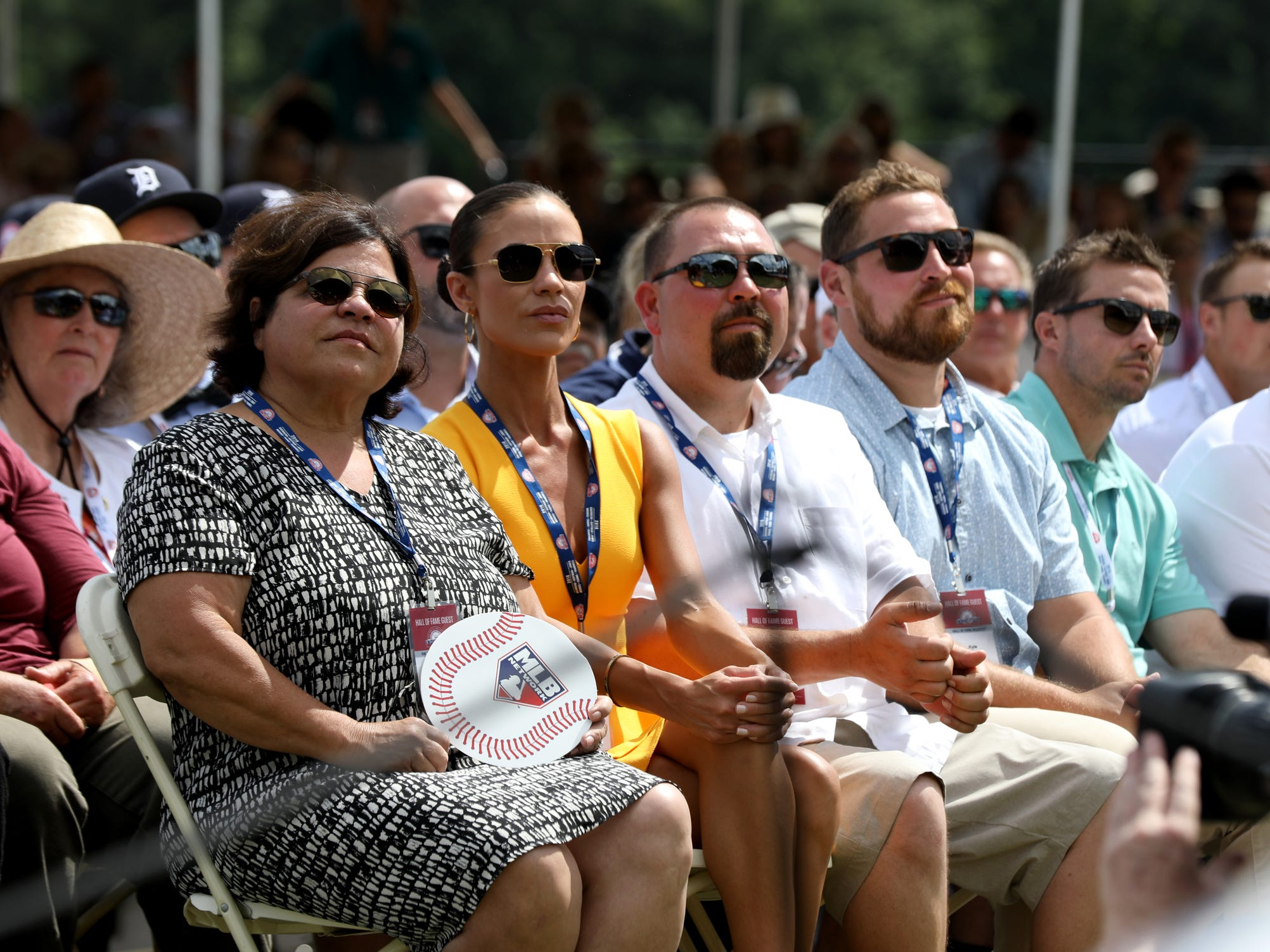 Barbara Trammell, left, listens to the Hall of Fame speech of her husband and former Detroit Tigers star Alan Trammell at the Clark Sports Center after the National Baseball Hall of Fame induction ceremony in Cooperstown, N.Y. on Sunday, July 29, 2018.