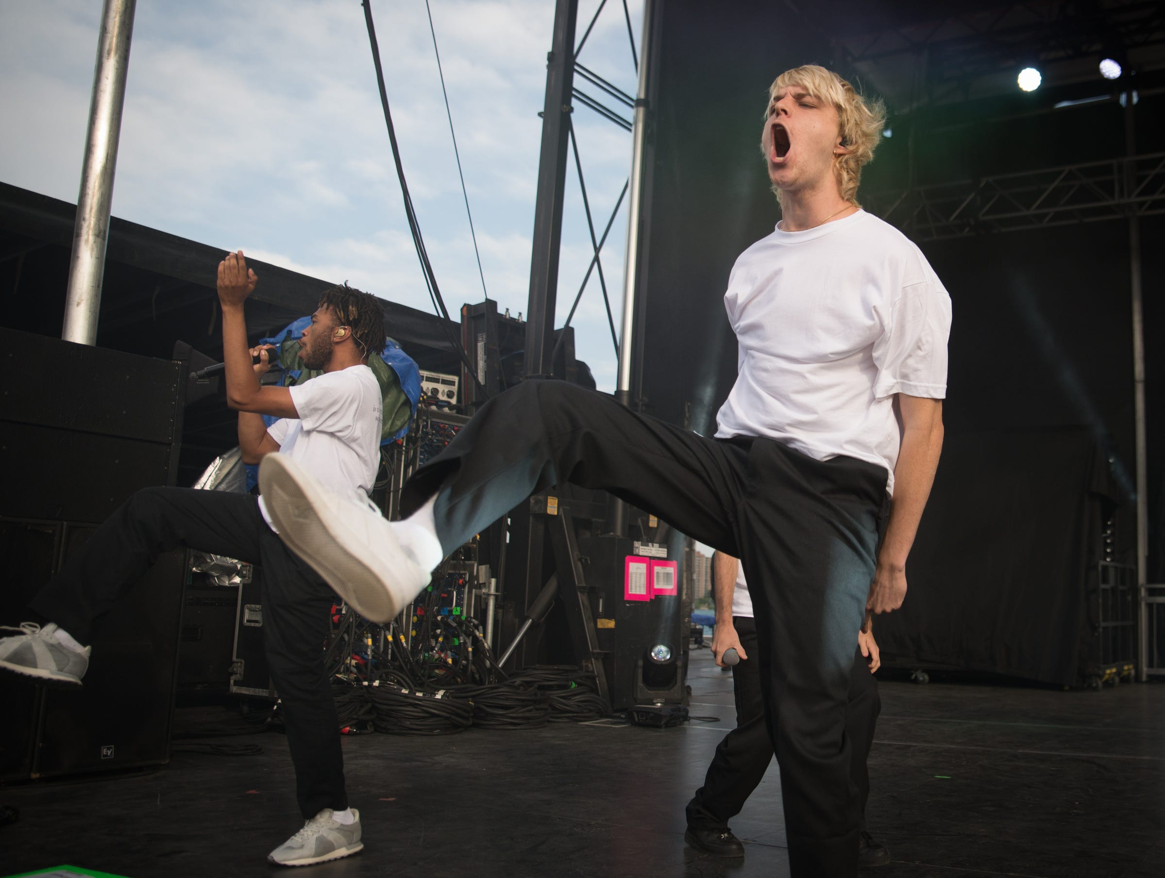 Brockhampton performs during the MoPop music festival in West Riverfront Park in Detroit on July 29, 2018.
