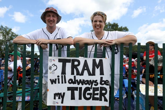 Detroit Tigers fans Darryl and Maimarie Adair of Rosewell, Ga. with their Alan Trammell sign at the Clark Sports Center after the National Baseball Hall of Fame induction ceremony in Cooperstown, N.Y. on Sunday, July 29, 2018. The Adair's, who lived in Livonia but moved to Georgia four years ago, still have their Tigers season tickets, and came to Cooperstown to support and watch Jack Morris and Alan Trammell make it into the Hall of Fame.