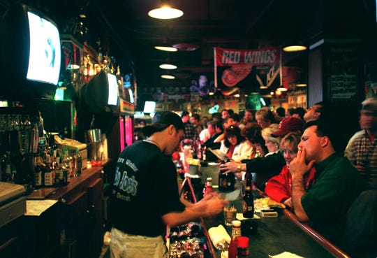 Cobo Joe's becomes standing-room-only an hour before game time in April 1997.