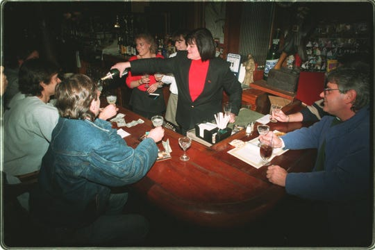 The Golden Galleon celebrates the end of the NHL strike and the return of Red Wings hockey on Jan. 12, 1995.