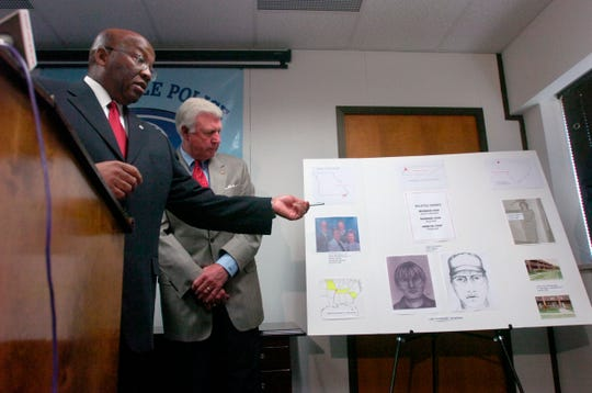 Greenville Police Chief Willie Johnson, on left, discusses a  possible Zitricki murder suspect along with law enforcement officials from South Carolina and Missouri  including U.S. Marshall Johnny Mack Brown, on right, during a press conference at the Greenville County LEC in 2006.  Missouri police have linked a suspect in a murder in their state with the Zitricki murder case in Greenville.